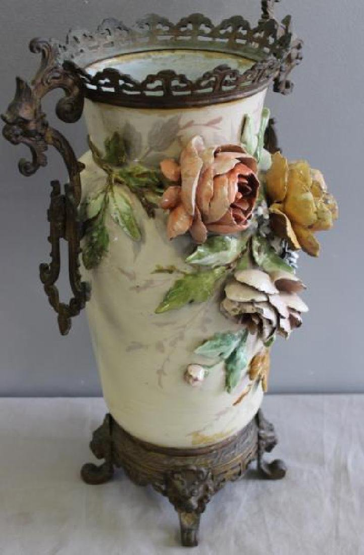 Emile Galle Majolica Style Vase With Gilt Metal - 4