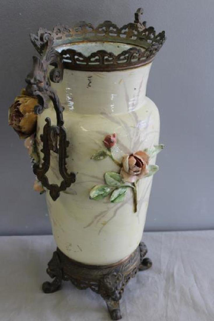 Emile Galle Majolica Style Vase With Gilt Metal - 7