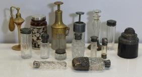 SILVER. Assorted Grouping of Perfume Bottles and