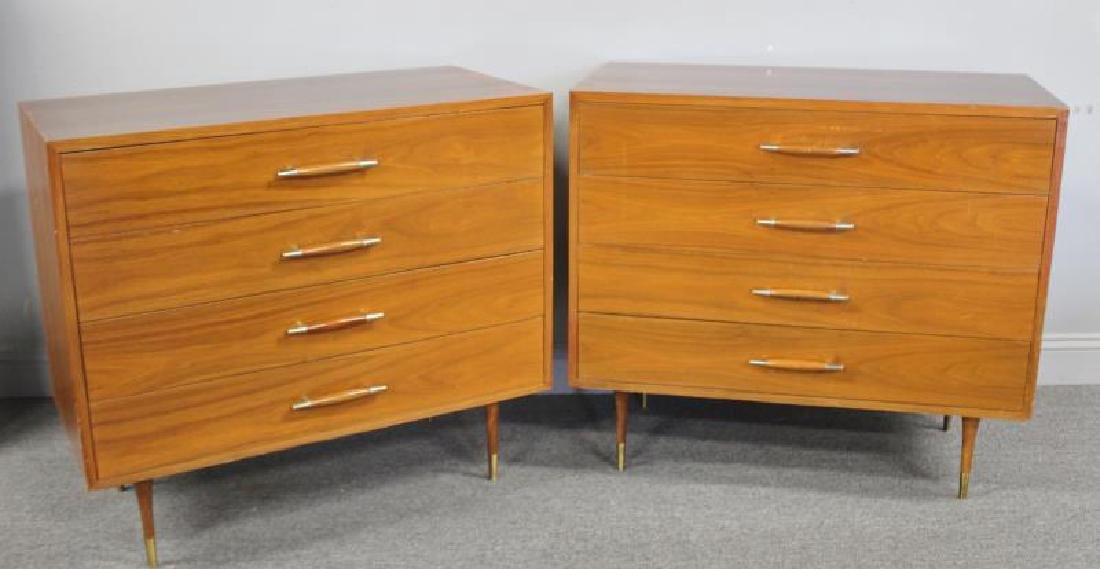 Midcentury Pair of Four Drawer Chests.