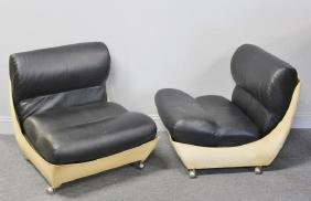 Unusual Pair of Molded Midcentury Lounge Chairs.