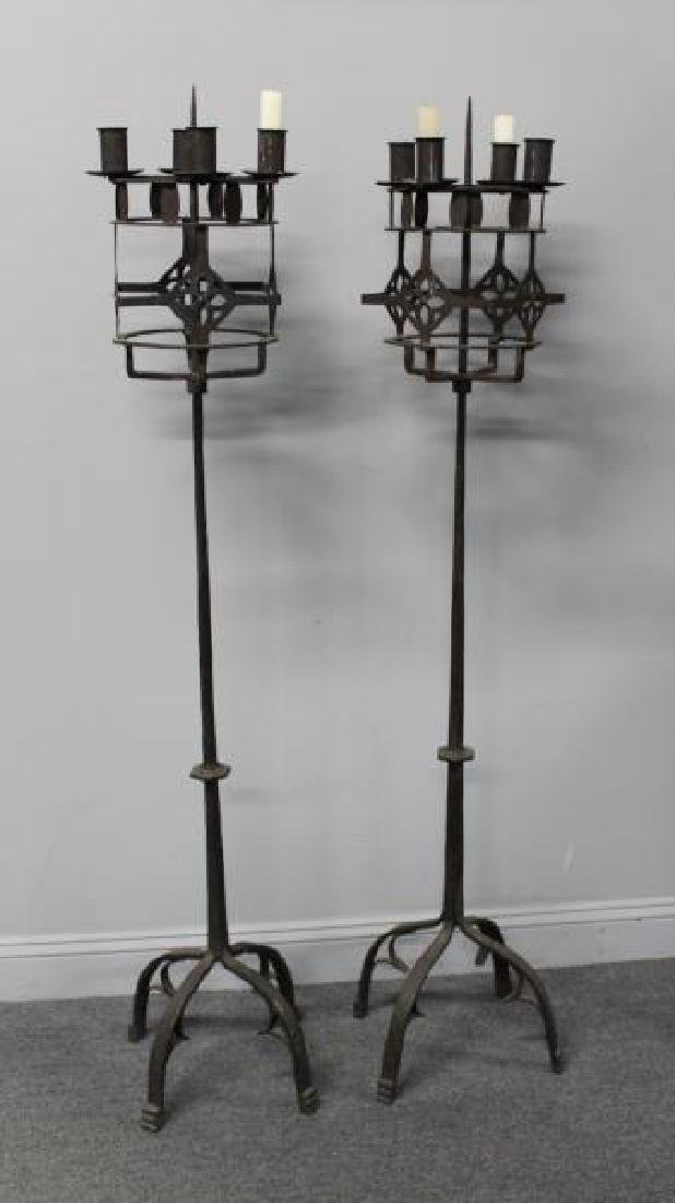 Pair of Wrought Iron Torchieres.