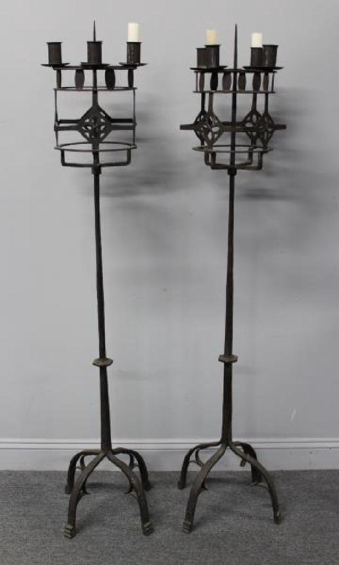 Pair of Wrought Iron Torchieres. - 7
