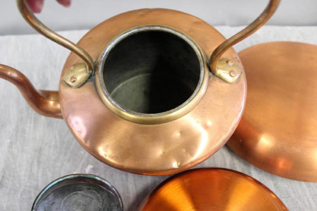 Lot of Vintage Copper Cooking Cookware. - 8