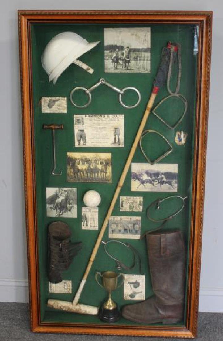Shadow Box of Assorted Equestrian Collectibles.