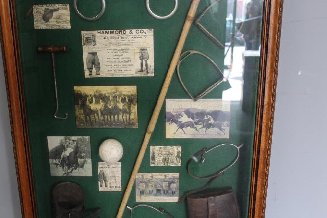 Shadow Box of Assorted Equestrian Collectibles. - 3