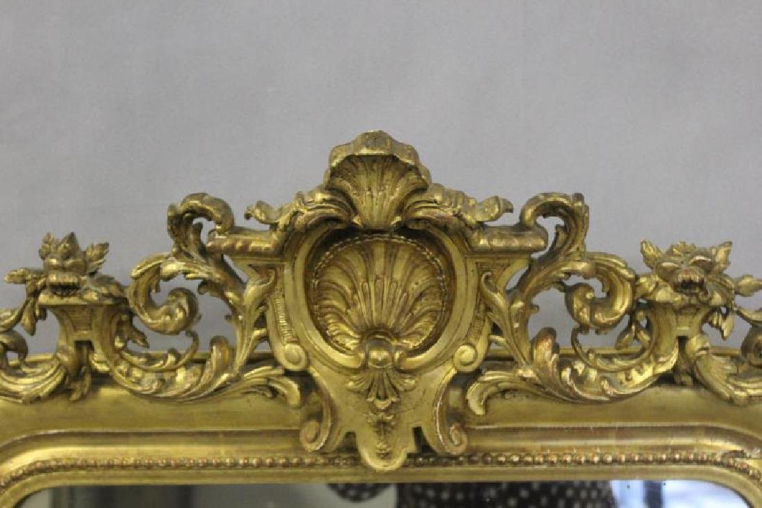 Antique Giltwood Mirror with Shell Crown. - 2