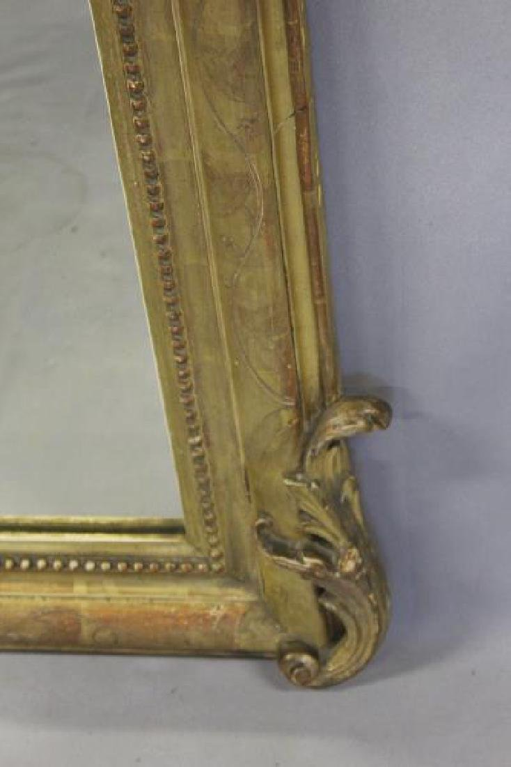 Antique Giltwood Mirror with Shell Crown. - 3