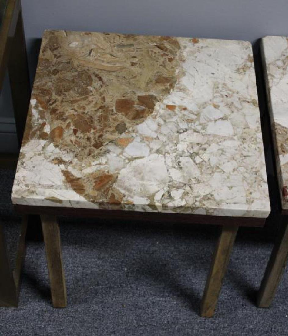 Pair of Marbletop Midcentury End Tables Together - 3