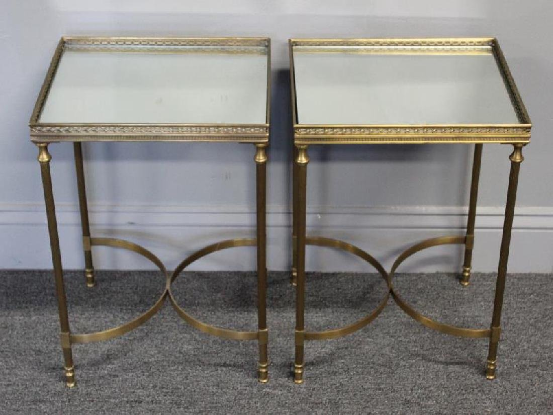 Pair of Diminutive Mirror Top Brass End Tables.