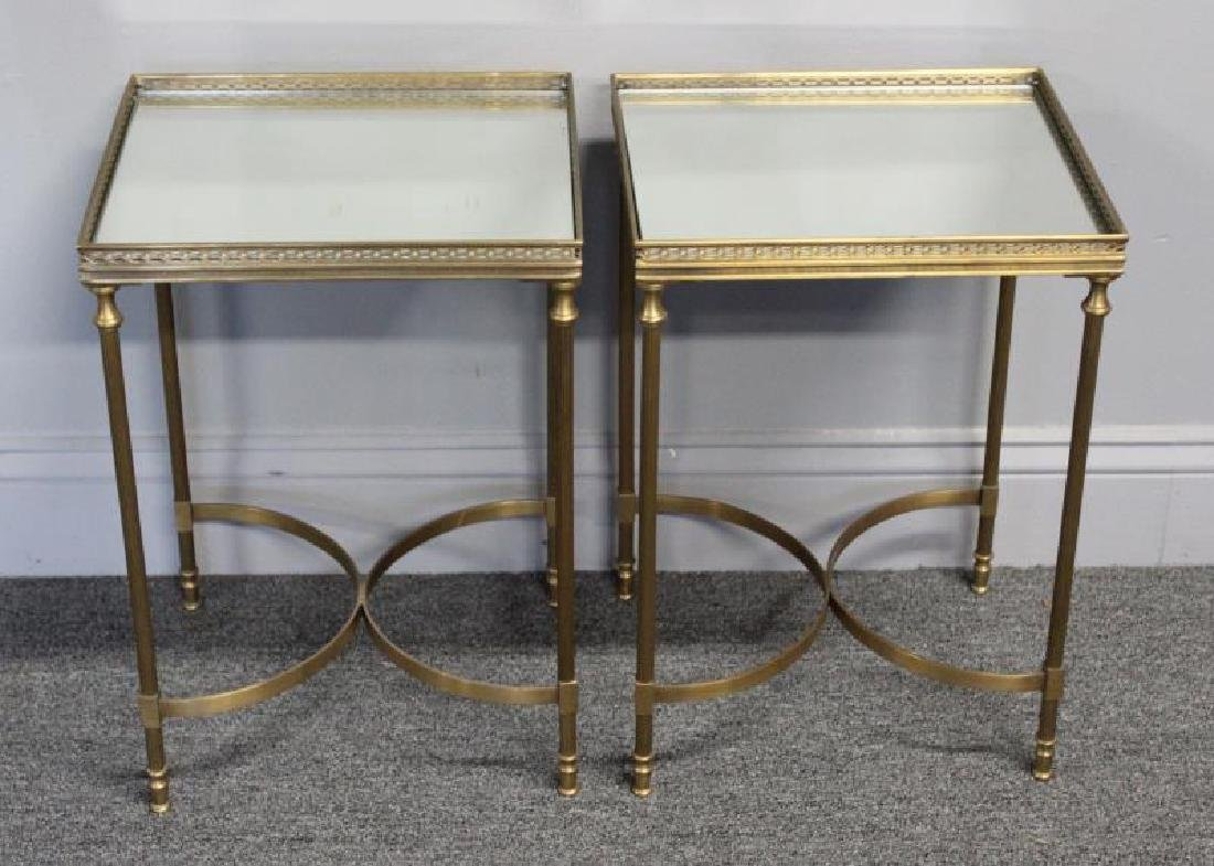 Pair of Diminutive Mirror Top Brass End Tables. - 2