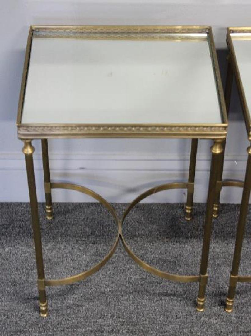 Pair of Diminutive Mirror Top Brass End Tables. - 3