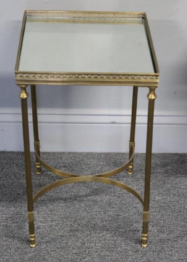 Pair of Diminutive Mirror Top Brass End Tables. - 4