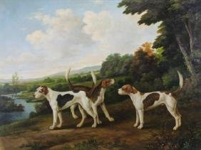 20th Century Oil on Canvas of Hunting Dogs in
