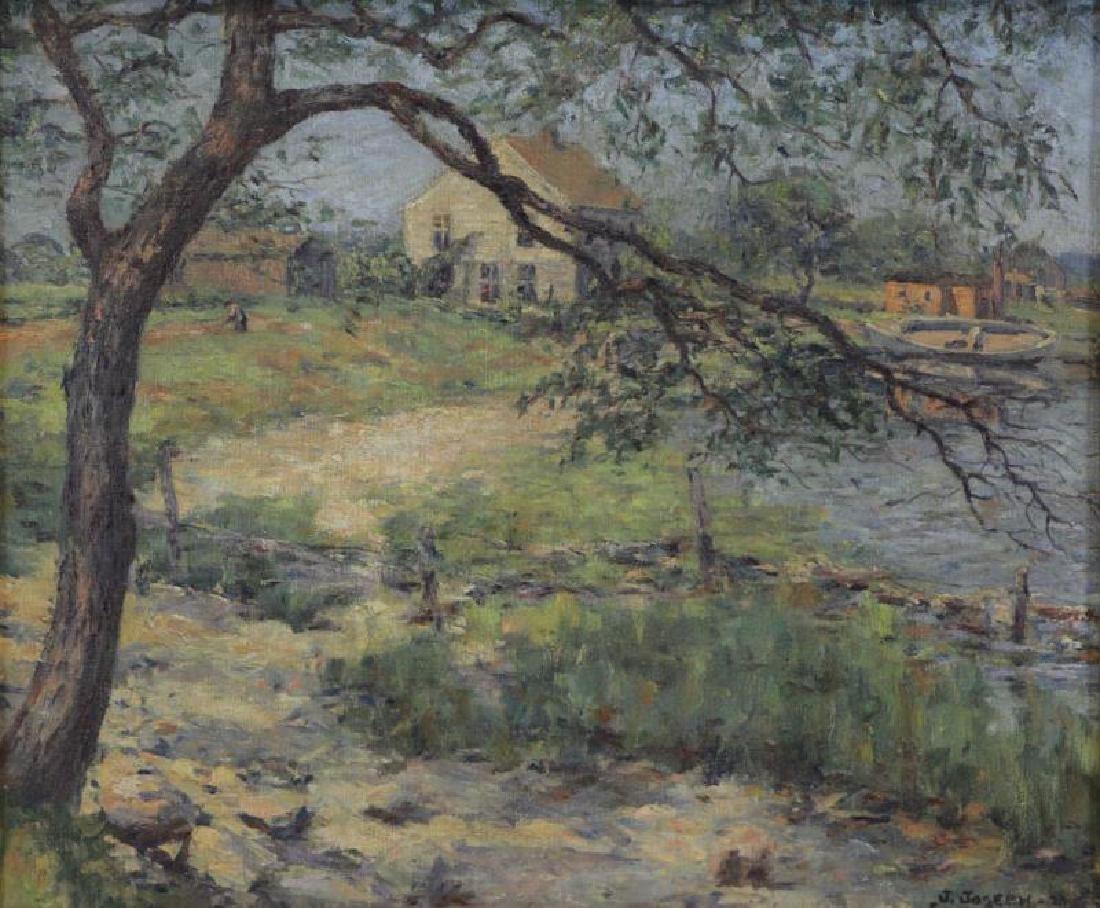 JOSEPH, Julian. Oil on Canvas. Lakeside Cottages