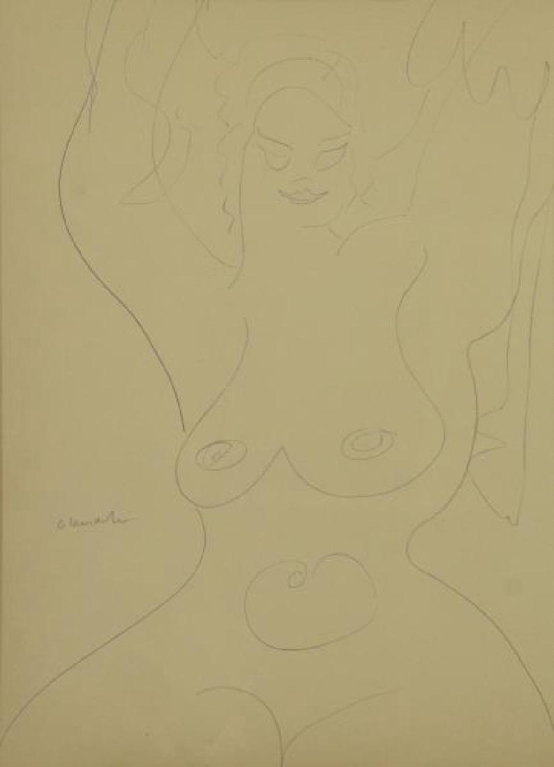 LACHAISE, Gaston. Pencil on Paper. Female Nude.
