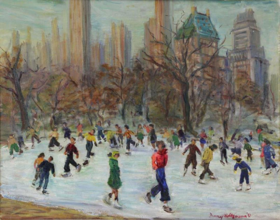 HOLTZMAN, Fanny. Oil on Canvas. Ice Skating in