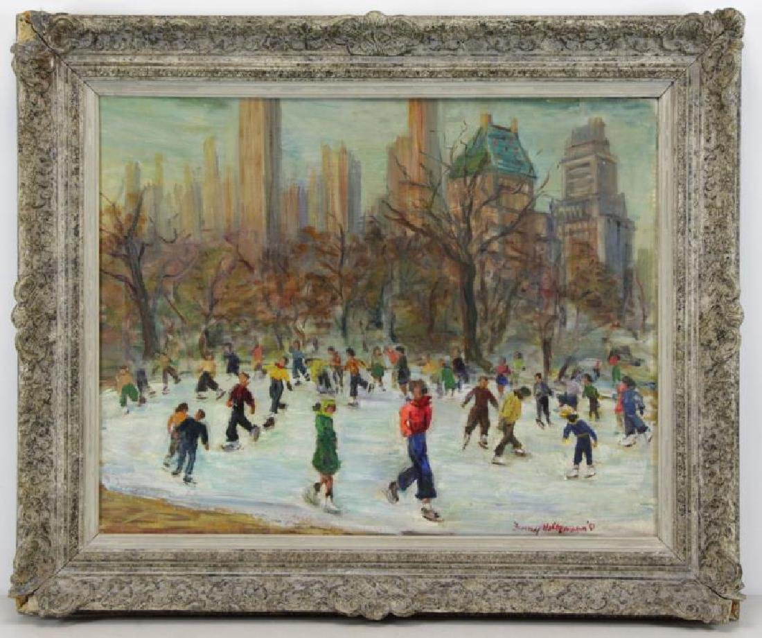 HOLTZMAN, Fanny. Oil on Canvas. Ice Skating in - 2
