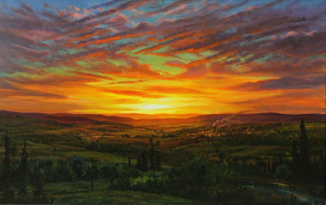 HORNAK, Ian. Oil on Board. Landscape at Sunset.