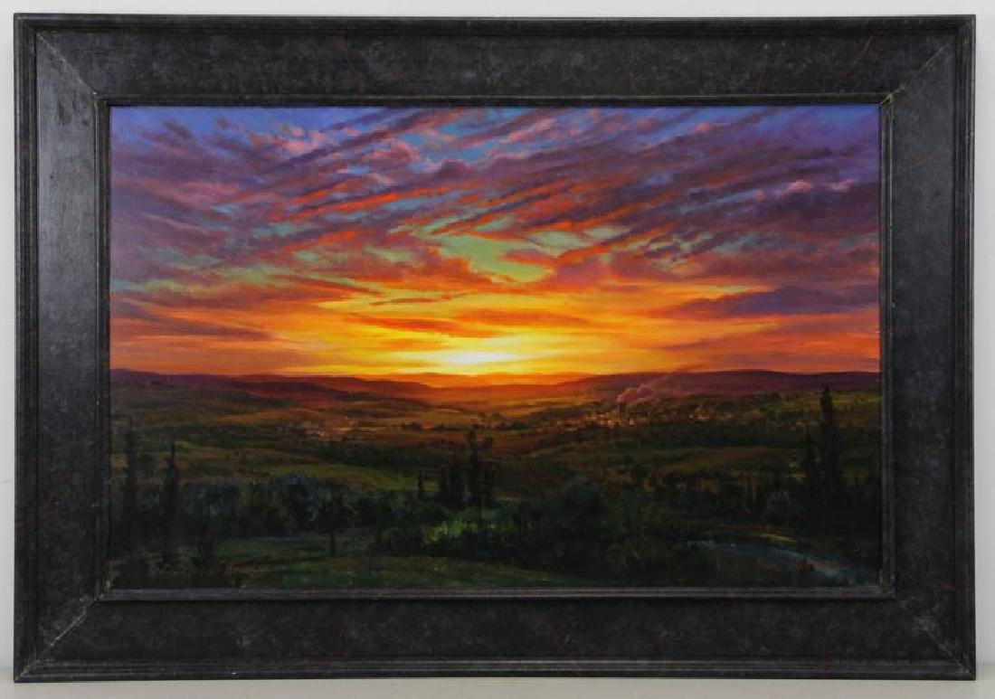 HORNAK, Ian. Oil on Board. Landscape at Sunset. - 2