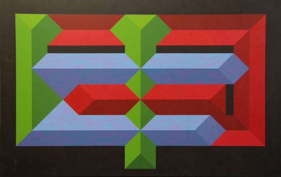Mid 20th C. Oil on Canvas. Geometric Abstract