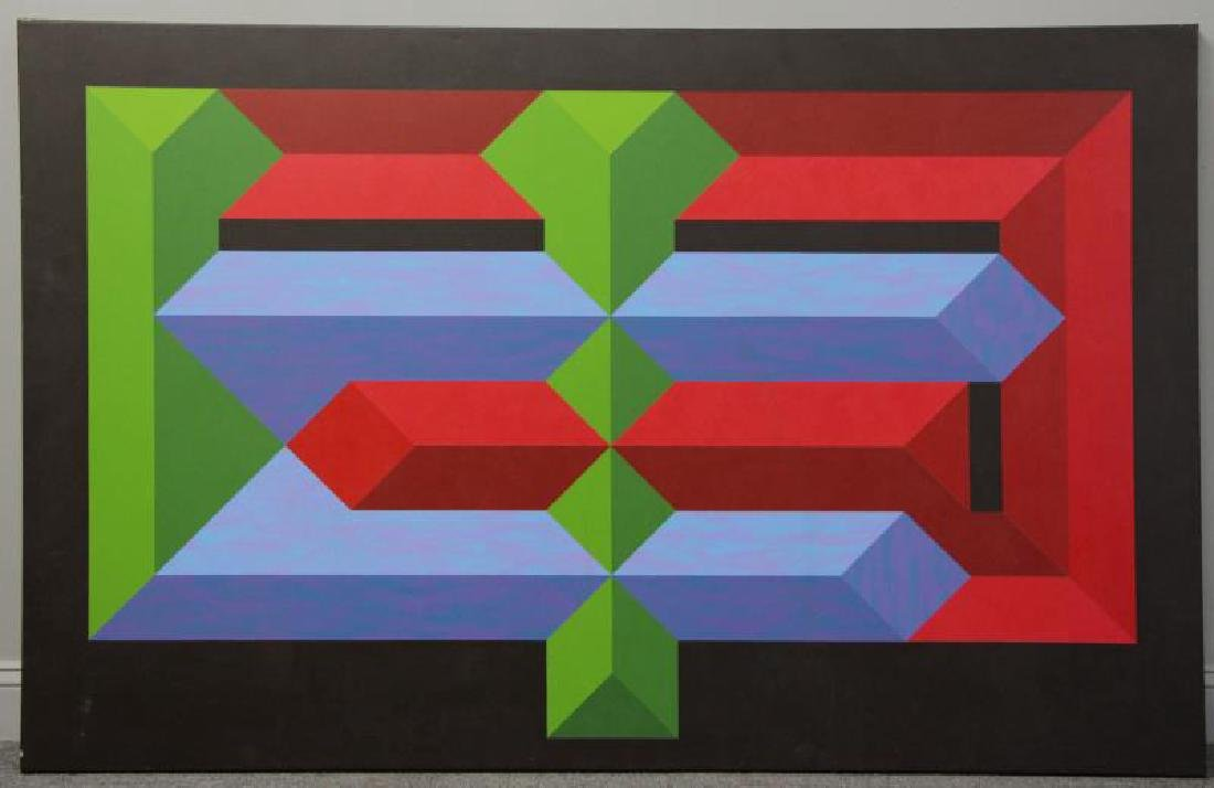 Mid 20th C. Oil on Canvas. Geometric Abstract - 2