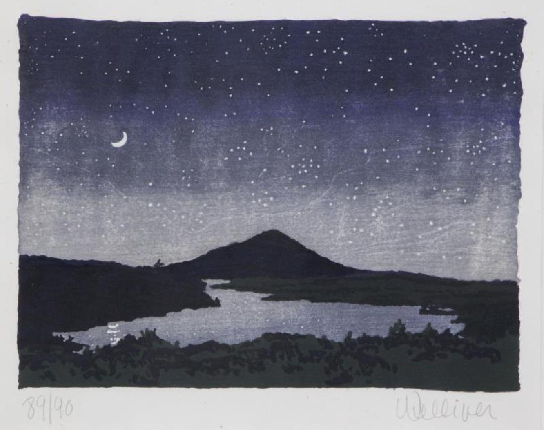 "WELLIVER, Neil. Color Woodcut ""Night Scene"" 1982."