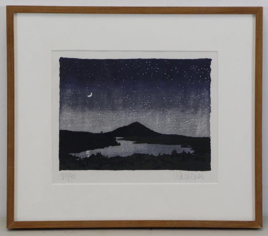 "WELLIVER, Neil. Color Woodcut ""Night Scene"" 1982. - 2"