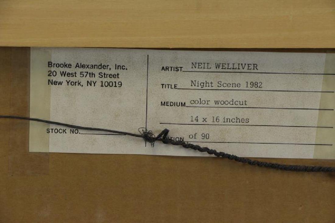 "WELLIVER, Neil. Color Woodcut ""Night Scene"" 1982. - 6"