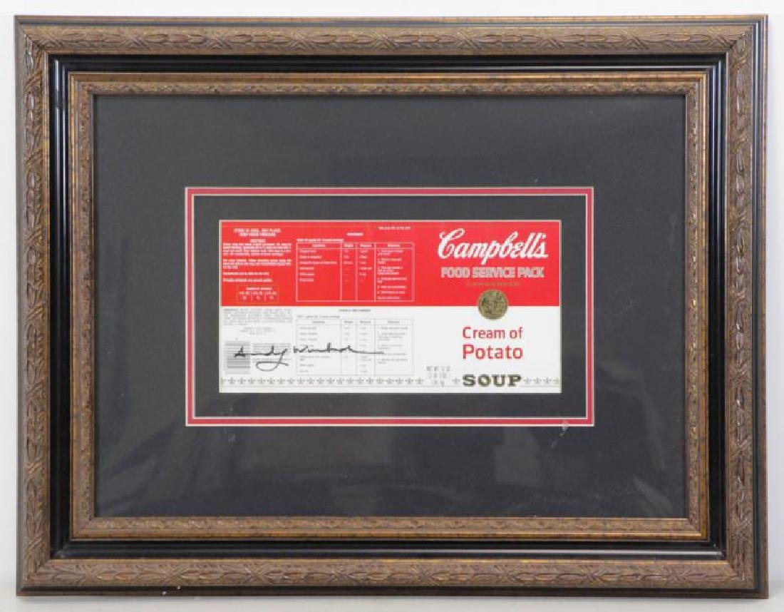 WARHOL, Andy. Signed Campbell's Cream of Potato - 2