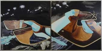 HALLORAN, Lia. Pair of Oil on Wood Abstract