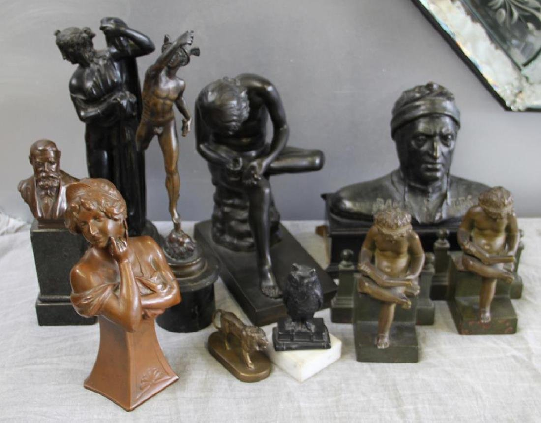 Lot of 10 Patinated Cabinet Bronzes.