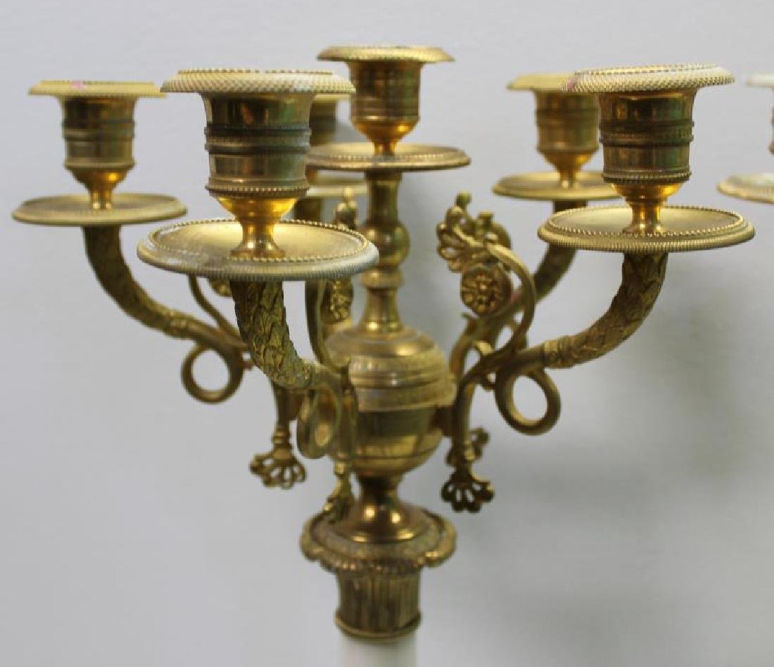 Pair Of Empire Dore Bronze and White Marble - 3