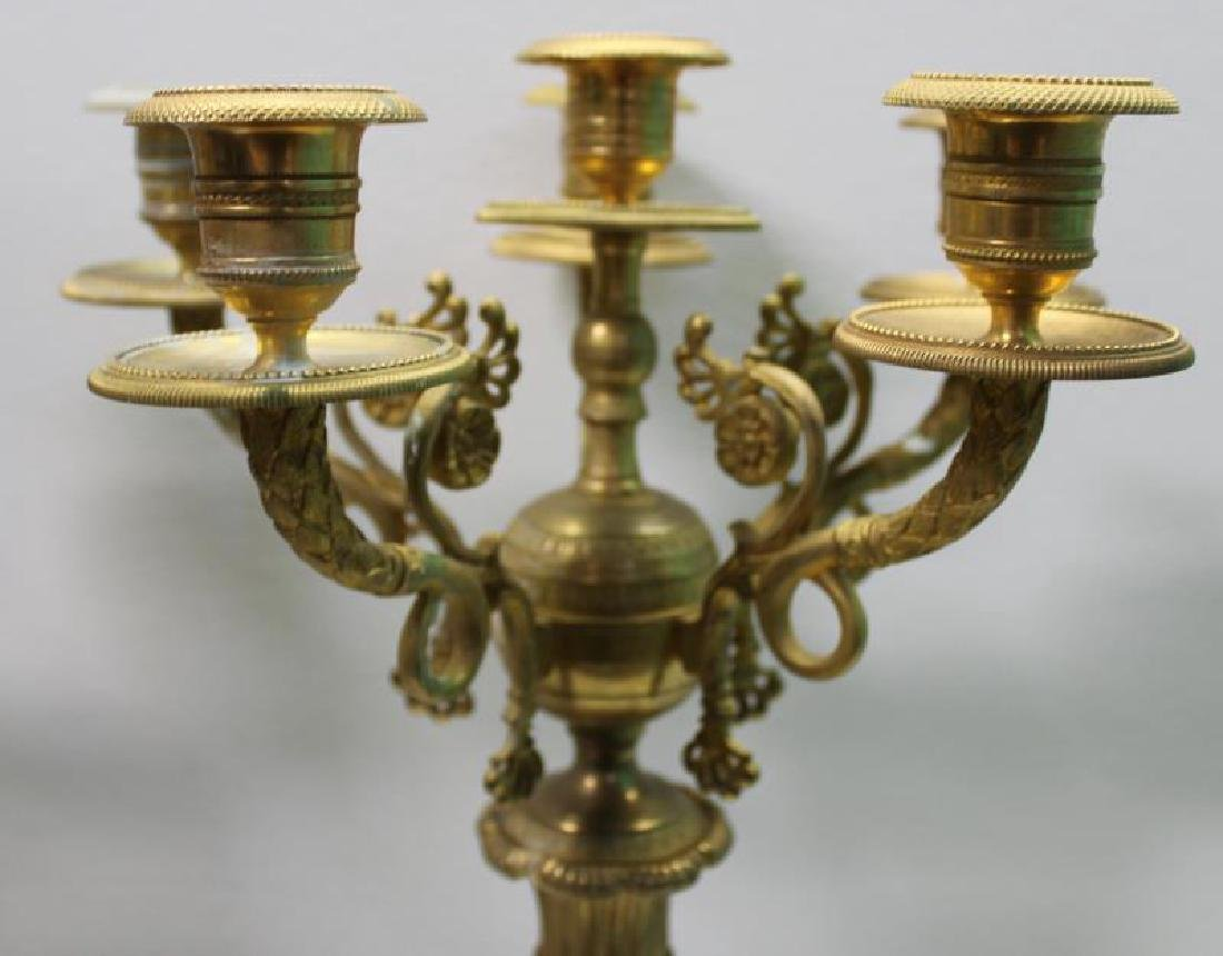Pair Of Empire Dore Bronze and White Marble - 4