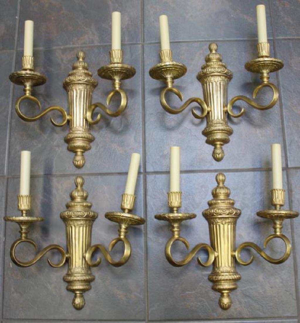 Set of 4 Bronze Urn Form 2 Arm Sconces.