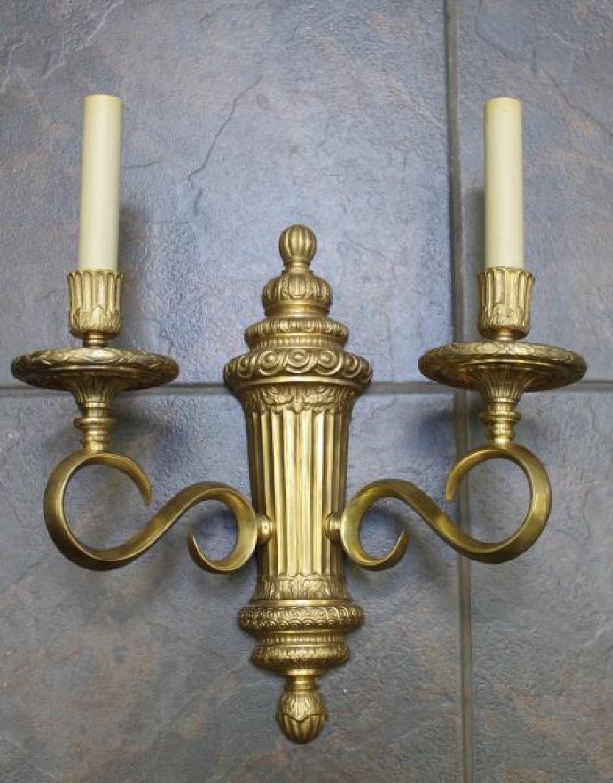 Set of 4 Bronze Urn Form 2 Arm Sconces. - 2