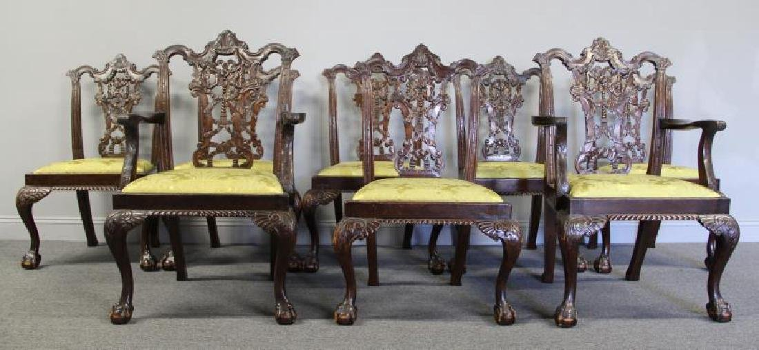 Set Of 8 Finely Carved Antique Mahogany