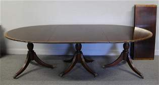 Antique Banded Mahogany Triple Pedestal Dining