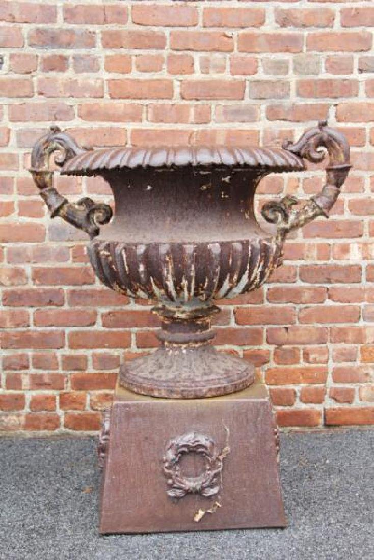 Pair Of Antique Cast Iron Urns On Stands . - 3