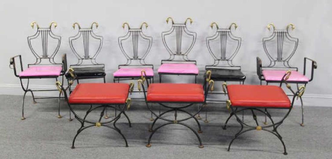 6 Patinated Iron Chairs with Brass Swan Decoration