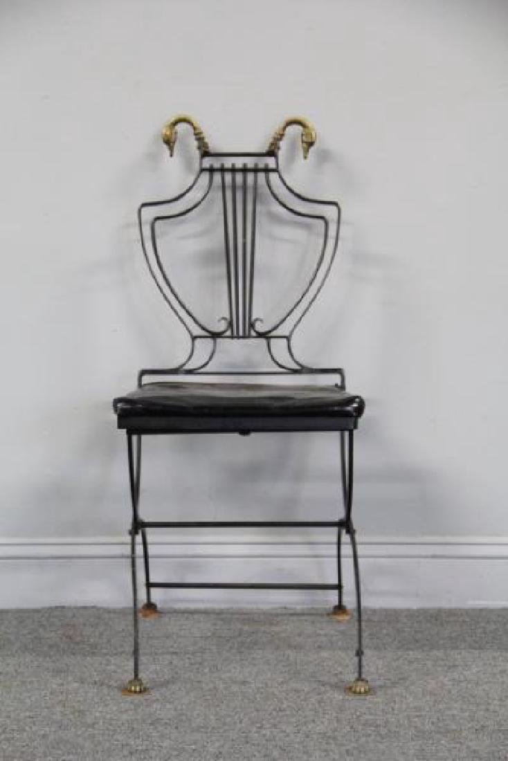 6 Patinated Iron Chairs with Brass Swan Decoration - 2