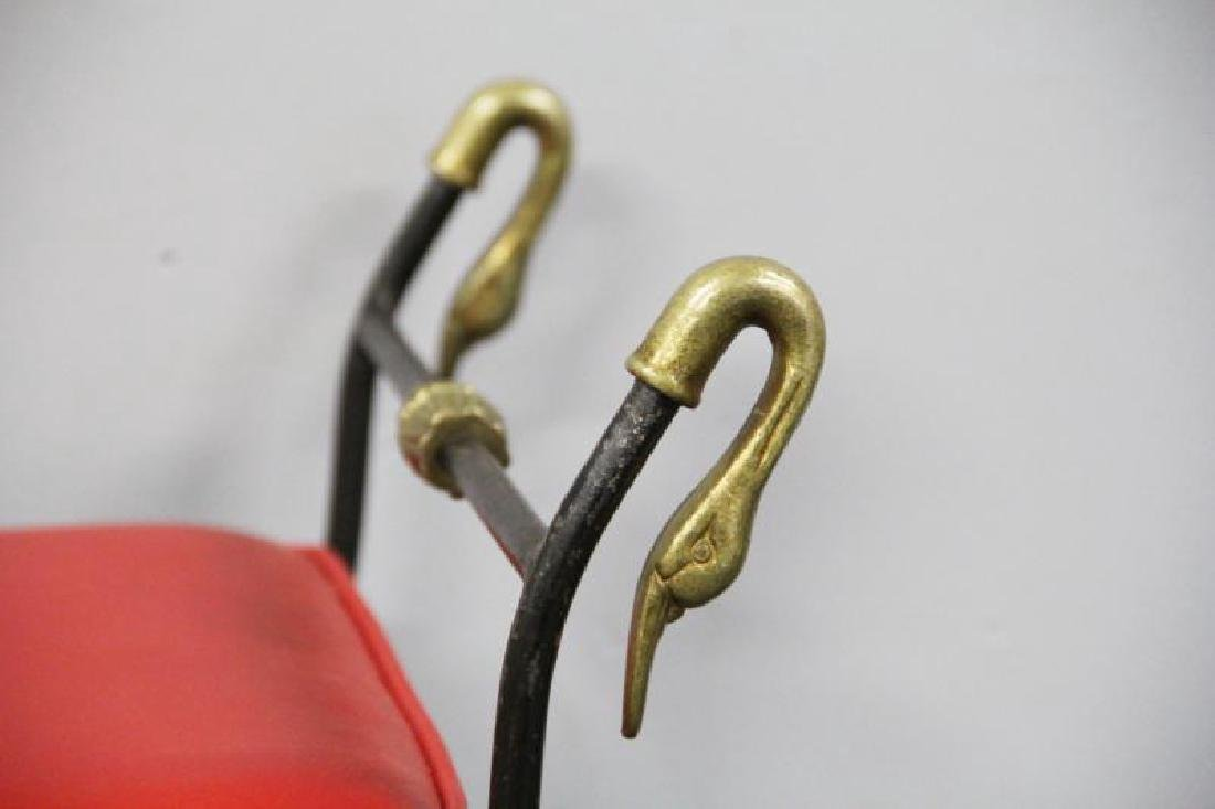 6 Patinated Iron Chairs with Brass Swan Decoration - 5