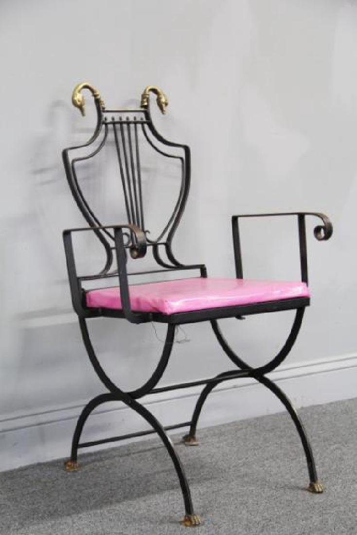 6 Patinated Iron Chairs with Brass Swan Decoration - 7