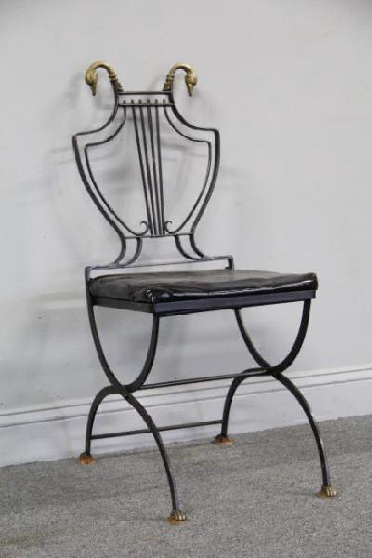 6 Patinated Iron Chairs with Brass Swan Decoration - 9
