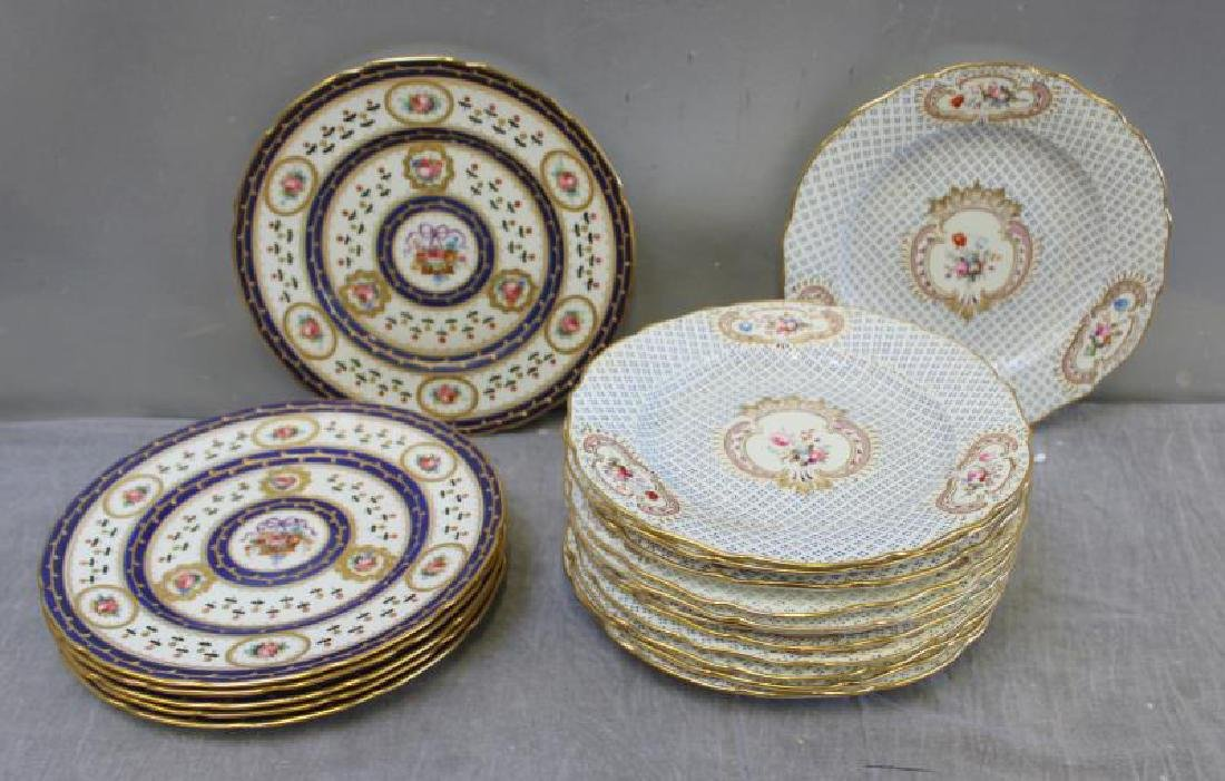 Lot Of 6 Sevres Plates and 12 Unsigned  Painted