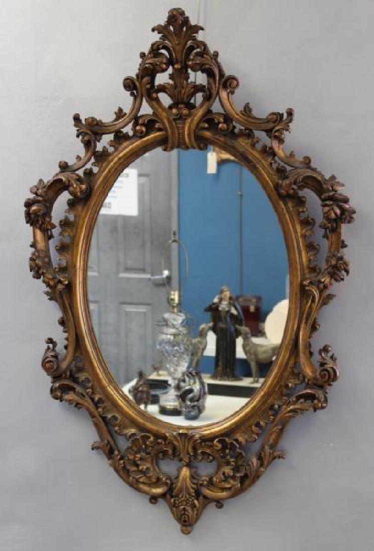 Antique Rococo Carved Giltwood Italian Mirror.