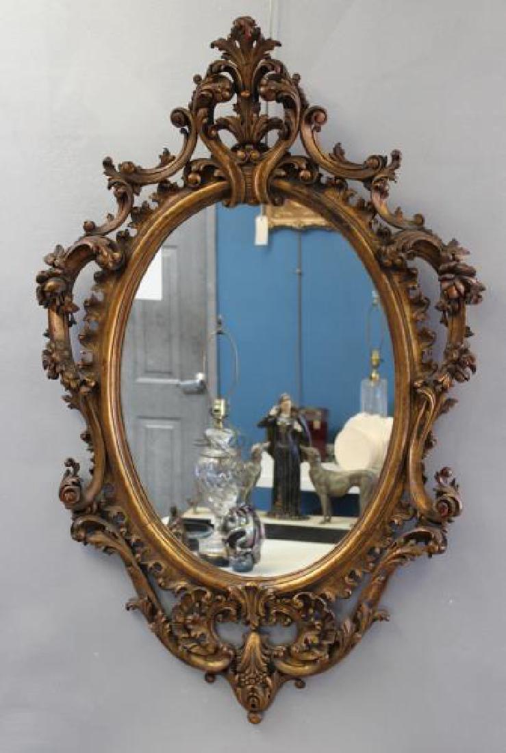 Antique Rococo Carved Giltwood Italian Mirror. - 2