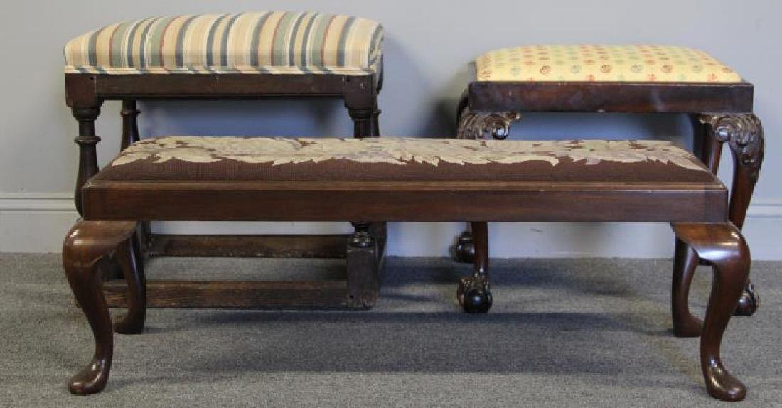 Lot Of 3 Antique Benches Including