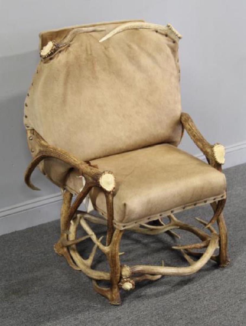 RINFRET. Custom Antler Chair with Hide