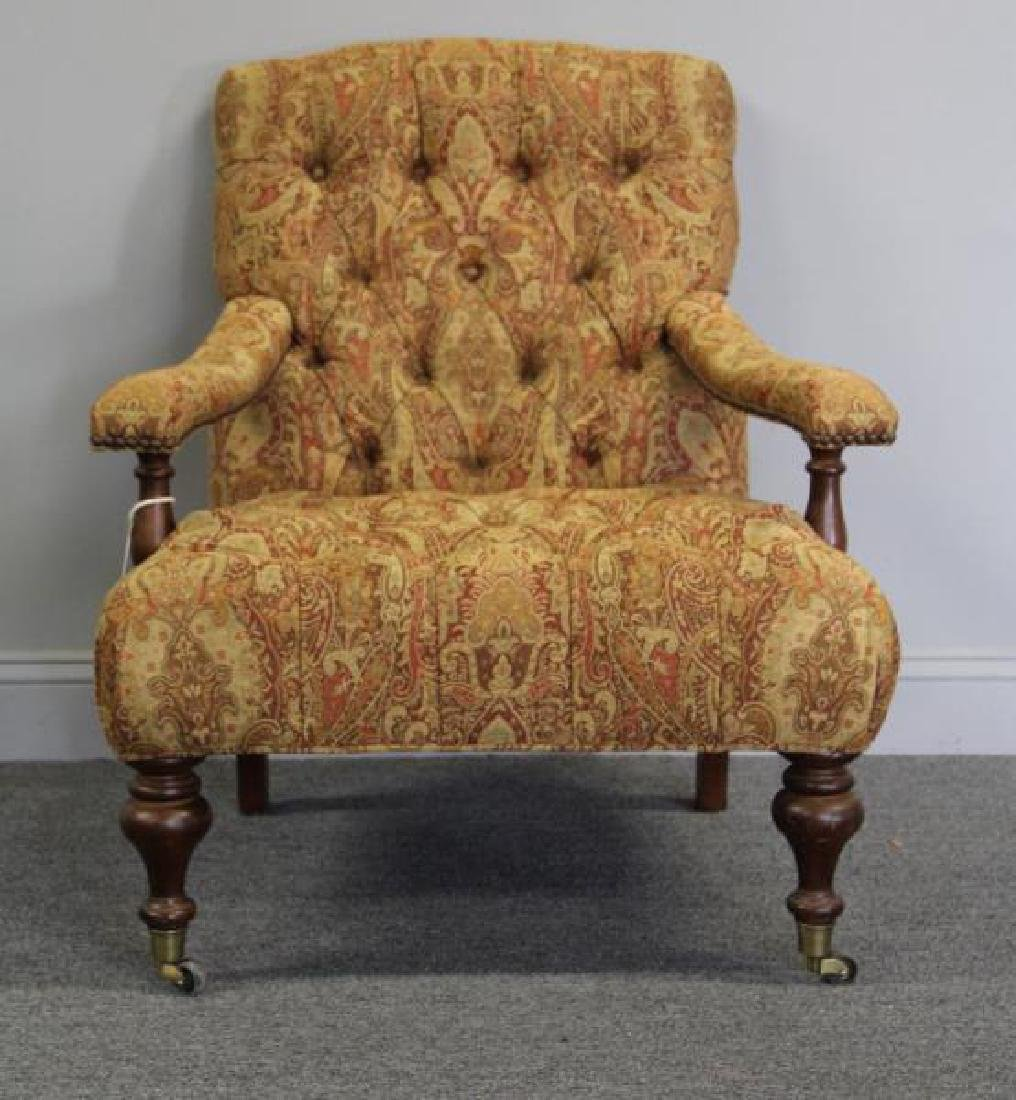 RINFRET. Tufted, Paisley Upholstered Library